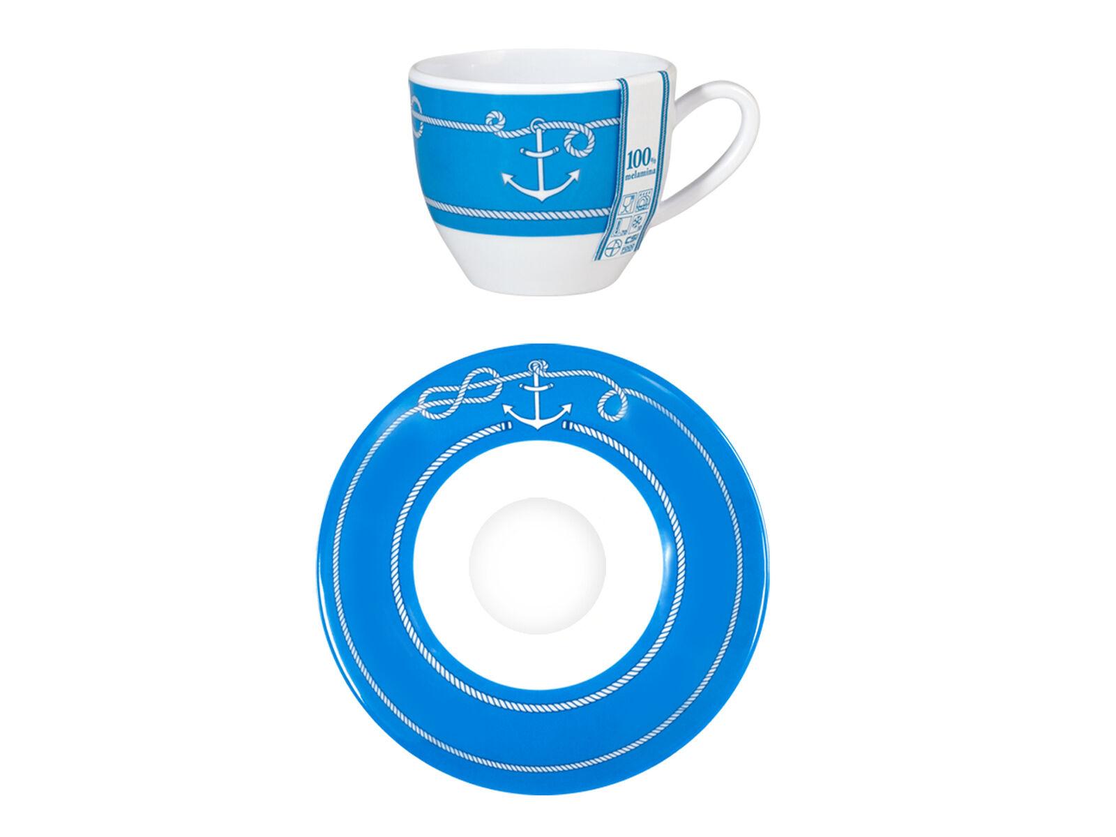 H&H Set 6 Tazze Caffè Melamina Marina Con Piatti Colazione