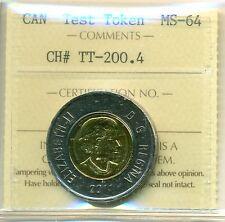 Very Scarce 2011 Canada Test Token CH# TT-200.4 ICCS Certified MS-64