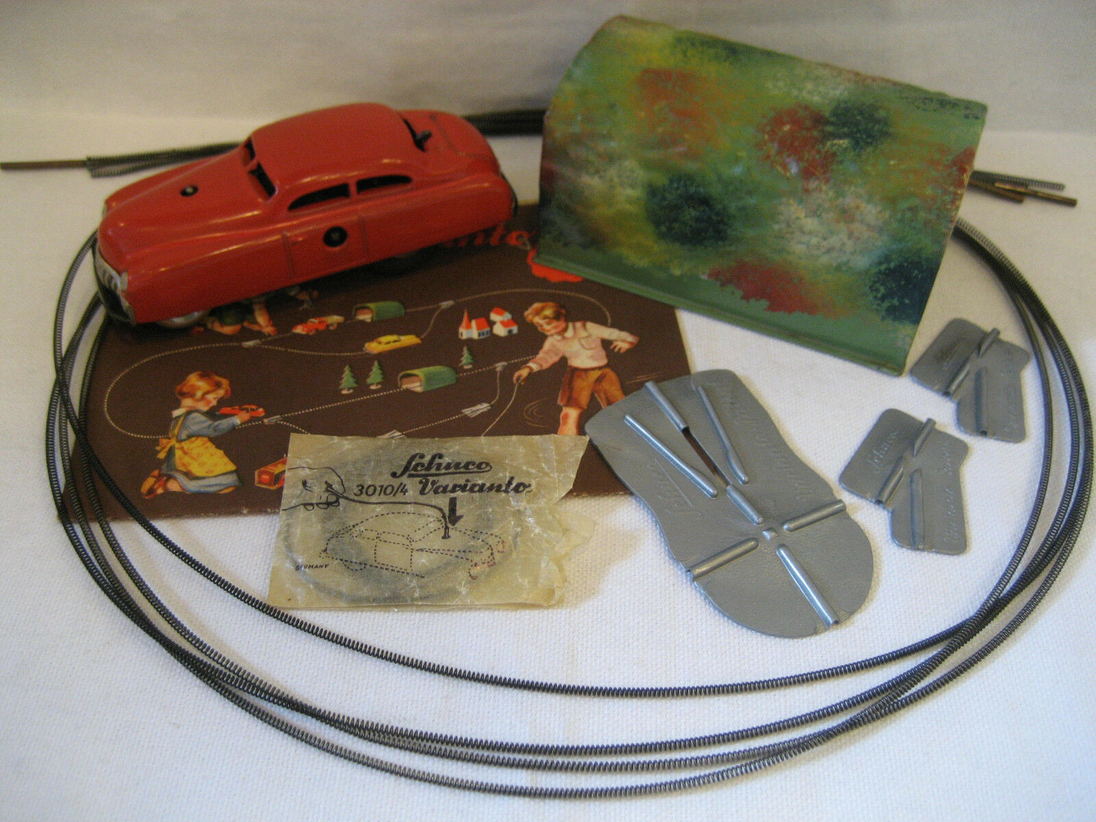 Vintage SHUCO Varianto LIMO w  tin TUNNEL & guide wire 3010 car rouge instructions