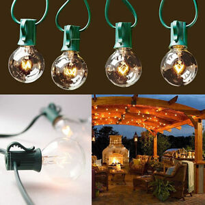 G40 String Lights Wedding : 25Foot G40 25 Branch Outdoor Globe Patio Party Deco String Lights Green Wir HK eBay