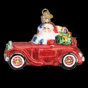 Old World Christmas SANTA IN ANTIQUE CAR (40302)N Glass Ornament w/Box