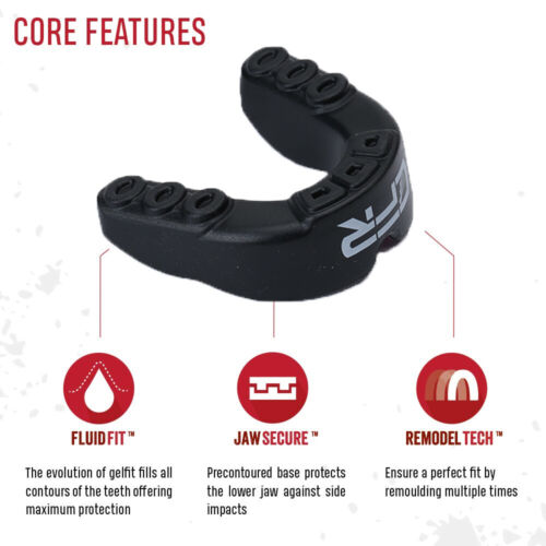 Sport Mouth Guard Gel Gum Shield Teeth Grinding MMA Boxing Sports Youth//Adults