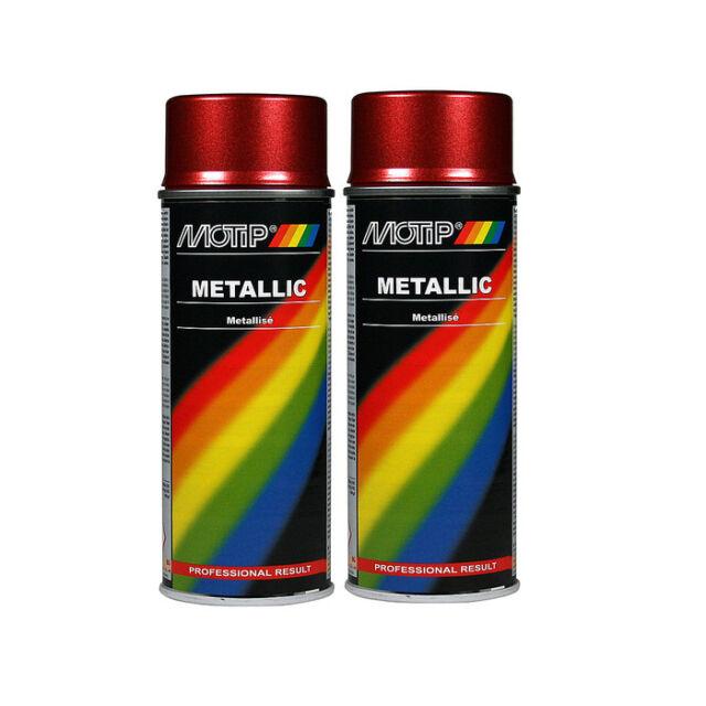 Motip Metallic Red Spray Paint 400ml X2