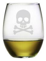 Skull & Crossbones Stemless Wine Glasses