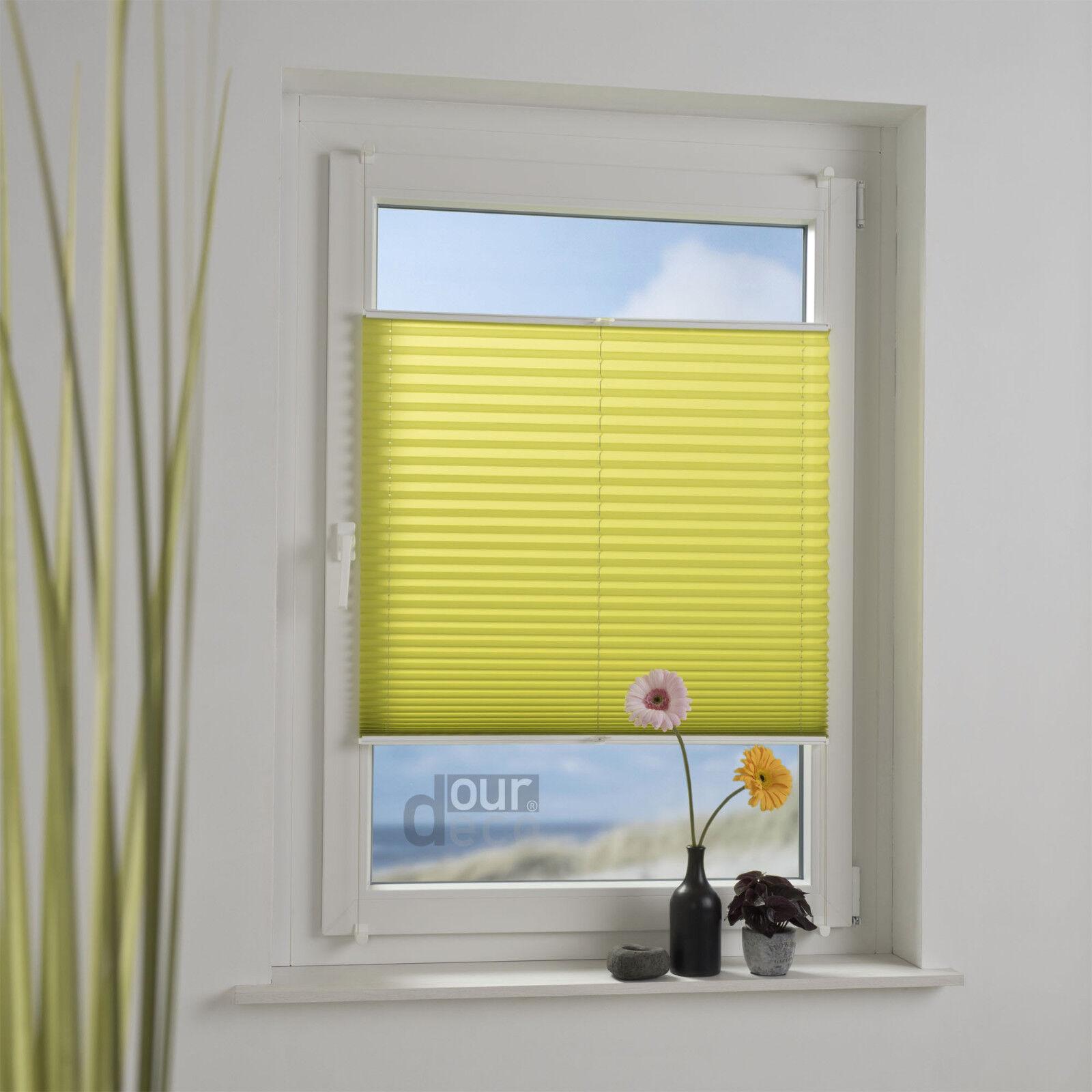 Ourdeco® Klemmfix Plissee verspannt Montage ohne Bohren Fenster Türen apfelgrün | Shop Düsseldorf