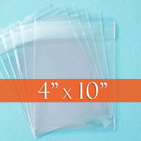 100 Clear Cello Bags, 4 X 10 Inch, Resealable Self Adhesive Flap,opp Poly 4x10