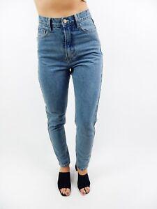 d45793431fbb DENIM MOM JEANS Blue Mum Vintage Style Slim Skinny High Waist Pants ...