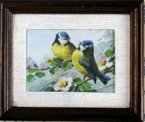 1:12 Scale Framed Picture Print Of 2 Love Birds Tumdee Dolls House Miniature Art