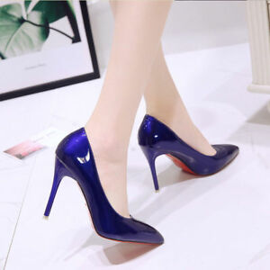 Women-039-s-office-shoes-Ladies-High-Stiletto-Heels-Leather-Pointed-Toe-Party-Shoes