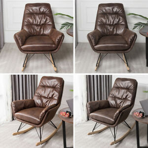 Leather-Rocking-Chair-Elder-Relaxing-Napping-Armchair-Sun-Lounger-Wood-Curve-Leg