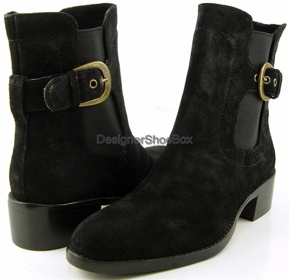 Joan & david negro suede designer comfortable ankle botas low heel 6