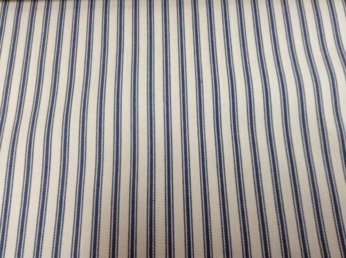 Falmouth Herringbone Ticking Stripe Blue//White Cotton Upholstery//Curtain Fabric