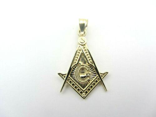 Véritable 10kt or bijoux maçonniques Lazor Dia Cut Fond Pendentif Charme