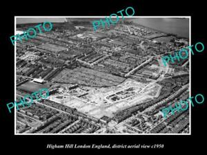 OLD-LARGE-HISTORIC-PHOTO-HIGHAM-HILL-LONDON-ENGLAND-DISTRICT-AERIAL-VIEW-c1950