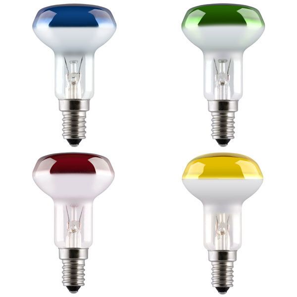 25W R50 COLOURED SPOT REFLECTOR LIGHT BULB SES E14 - RED GREEN BLUE AMBER YELLOW
