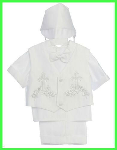 New Infant Boys Christening Baptism Special Gown size XS S M L XL cross