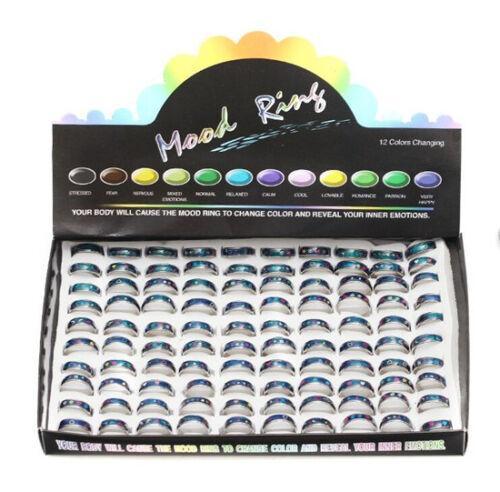 100pcs Color Changable Mood Ring star moon sun peace pattern wholesale lot 6-9#
