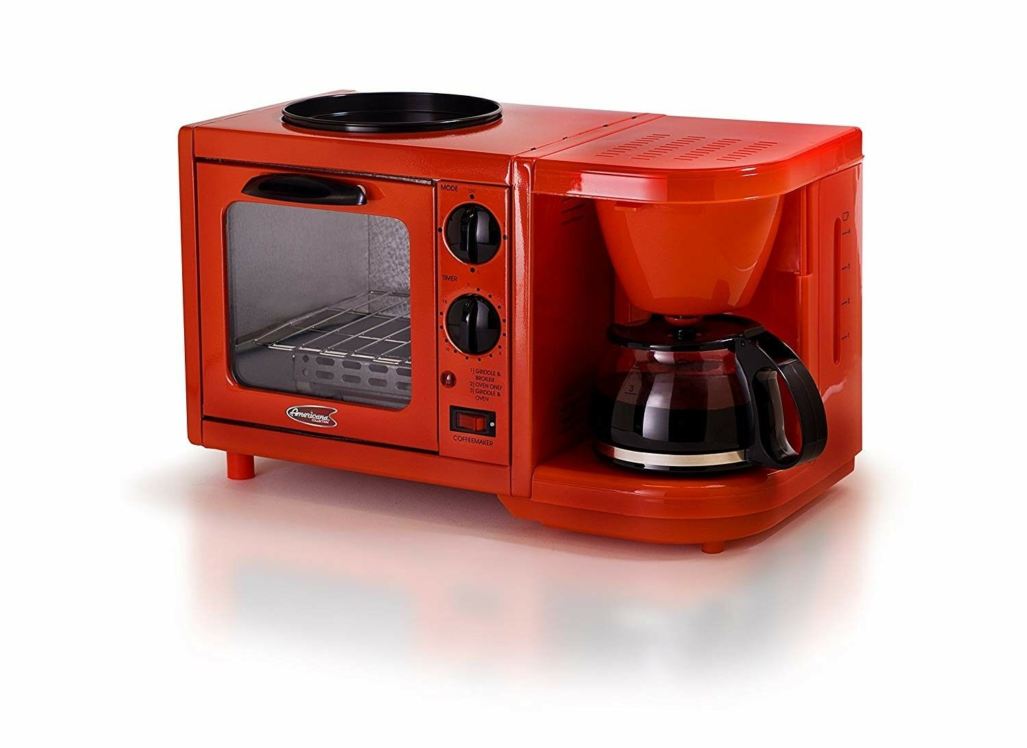 Elite Cuisine EBK-200R 3-in-1 Breakfast Center, Red