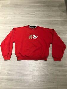 Vintage-80s-Funny-Furry-Cats-Long-Sleeve-Graphic-Crewneck-Sweatshirt-Womens-M
