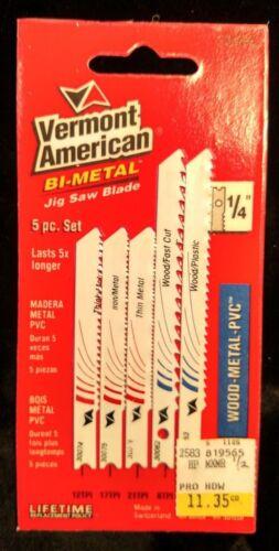 Vermont American 30084 Assortment 5 jigsaw blades plastic wood metal 6 to 21 TPI