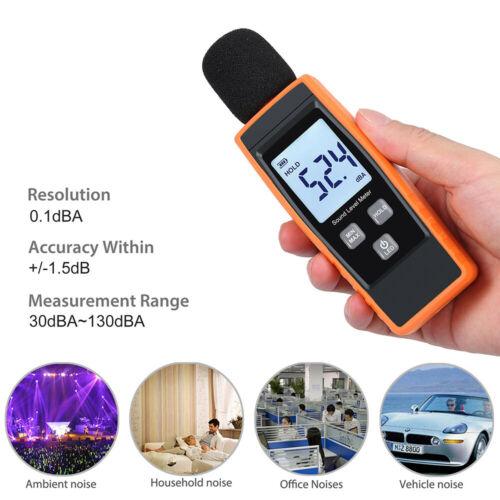 Digital Schallpegelmesser Messer Dezibel 30-130dB Lärm Messgerät Lautstärke