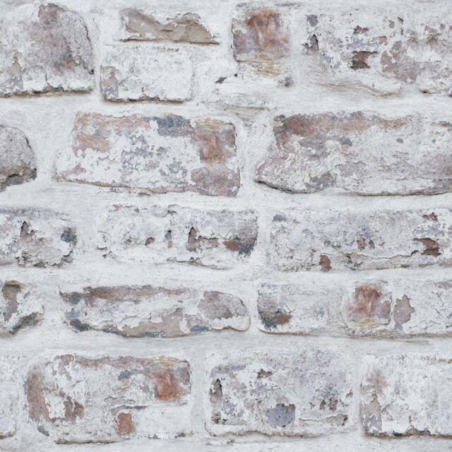 WHITEWASHED WALL BRICK WALLPAPER - WHITE - ARTHOUSE 671100 - OLD RETRO