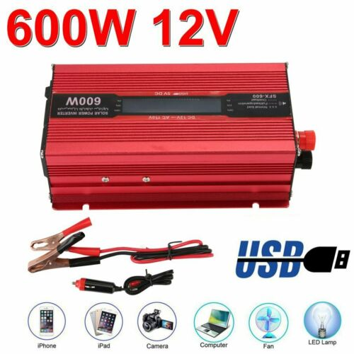 Portable Car LED Power Inverter 2000W DC 12V to AC 110V Charger Converter