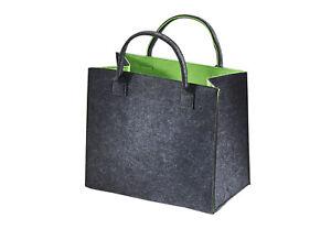 Einkaufstasche-Filz-Stoff-Tasche-Shopper-Filztasche-Einkaufs-Korb-grau-gruen