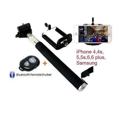 iPhone 5s 6 / 6+ PLUS SELFIE STICK + BLUETOOTH SHUTTER REMOTE TELESCOPIC MONOPOD