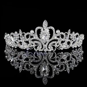Bridal Diamante Veil Tiara Rhinestone Crown Silver Wedding Party Prom  Headband 9337dcc7d8a6