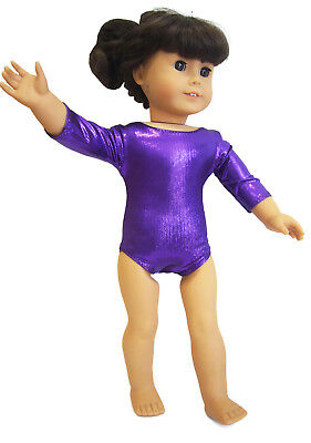 "Purple Hologram Stripes Leotard 18/"" doll clothes fits American Girl Gymnastics"
