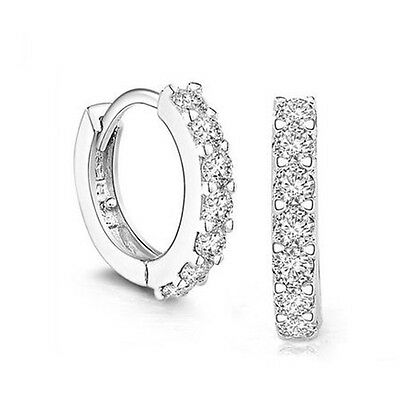 Solid925 Sterling Silver White Paved crystal Hoop Earrings Jewelry Weddingchoose