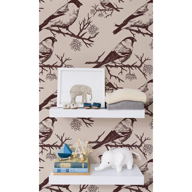 Removable Wallpaper Bullfinch sepia pattern Nursery vintage soft Hand-drawn