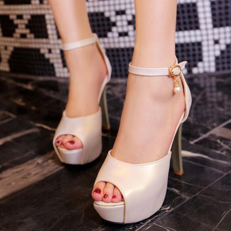 Women's Ankle Strap Platform High Heels Peep Toes Buckle Buckle Buckle Party Nightclub shoes 59914d
