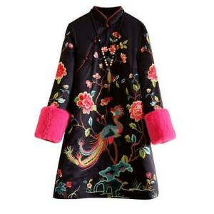 Chinese Style Womens Cotton Quilted Cheongsam Coat Embroidered Thicken Jackets L