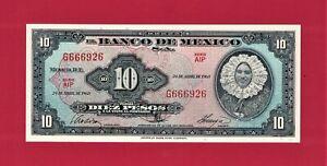 MEXICO-UNC-10-Pesos-1963-04-24-1963-SERIES-034-AIP-034-Pick-54j-4-PRINTER-ABNC