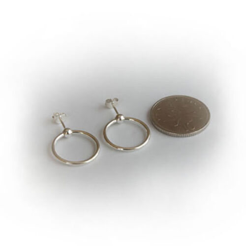 Solid 925 Sterling Silver Ball Stud Large Hoop Earrings Sleepers /& FREE GIFT