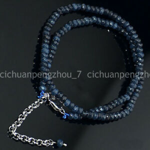 Faceted-2x4mm-Dark-Blue-Apatite-Rondelle-Gems-Beads-Necklaces-18-034-Silver-Clasp