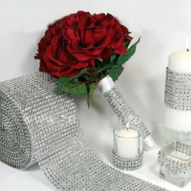 Silver Crystal Diamond Mesh Wrap Roll Rhinestone Bling Ribbon Wedding Decor USA