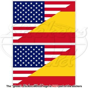 USA-United-States-America-SPAIN-American-amp-Spanish-Flag-100mm-x2-Decals-Stickers