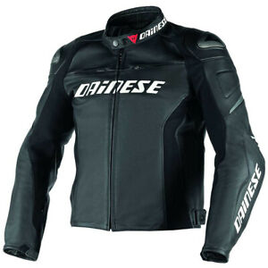 Dainese-Men-039-s-Racing-D1-Perforated-Leather-Motorcycle-Jacket-Black-Size-52-EU