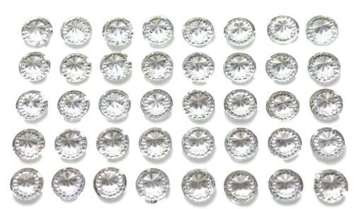 40 x Self Adhesive Clear Round Diamante Rhinestones Acrylic Crystals Stick on