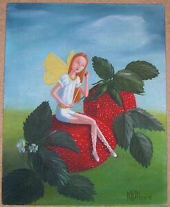 GARDEN FAIRY STRAWBERRY STRAWBERRIES FRUIT BOTANICAL LISTED ARTIST OIL PAINTING