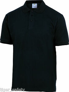 Delta-Plus-Panoply-Agra-Mens-Black-Cotton-Polo-Shirt-Work-T-Shirt-Tee-Shirt-BNWT