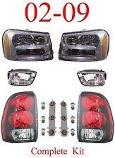 02 09 Trailblazer 6Pc Head, Fog & Tail Light Assembly, Chevy SUV, New In Box