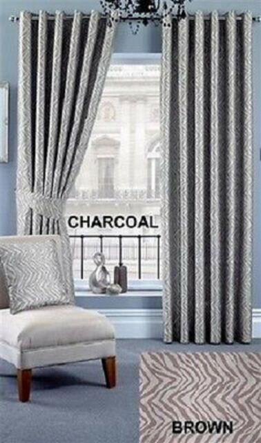 Ring Top Fully Lined Pair Eyelet Ready Made Curtains Faux Silk Striped Bedroom