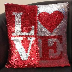 Love Red Silver Magical Mermaid Sequin Cushion 16 40cm Filling