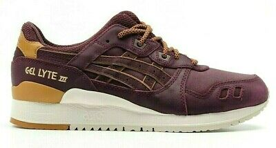 Details about Mens Womens Asics Gel Lyte III H6V1L 5252 Rioja Red Leather Casual Trainers