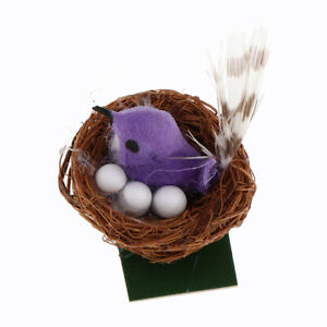1-6-Dollhouse-Garden-Sculpture-Lawn-Ornament-Bird-in-Nest-with-Eggs-Purple