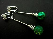 A PAIR OF TIBETAN SILVER GREEN/YELLOW CRACKLE GLASS BEAD  CLIP ON EARRINGS. NEW.